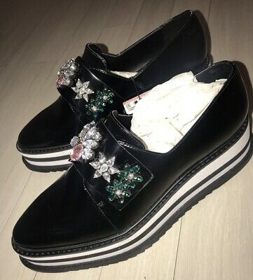 c16c88ef51 Zara Platform Shoes Loafers Trafaluc Gems Black and White Womens Size US 10  New