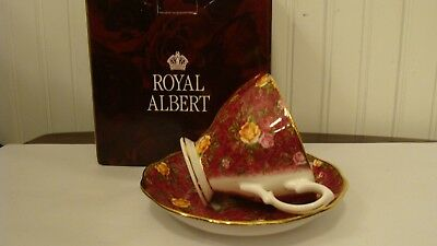2002 Royal Albert Old Country Roses Ruby Lace Footed Tea Cup & Saucer New in Box