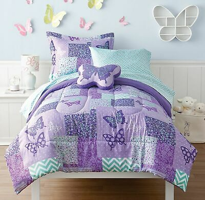 6pcs Kids Twin Butterfly Bedding Cover Set Purple Teal Bed in a Bag Girls Room