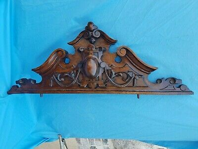 Antique french, large pediment,architectural,carved wood, oak,coat of arms, 19th