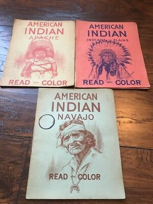 American Indian Vintage Antique Read and Color Coloring Book Magazine 1949 1951