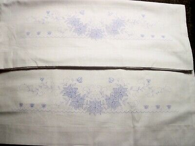 Pair - Vintage Janlynn Floral Stamped for Embroidery Pillow Cases w/Instructions