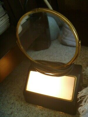 Vintage Tabletop Illuminated  Makeup~Shaving Mirror/Magnifier, USA Made by ACME