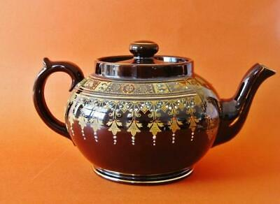 Antique C1910 C&S.L Gibson Jackfield ware teapot hand enameled.