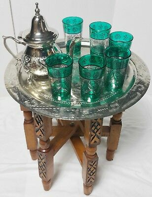 Moroccan Tea Serving 1 Tray Set 1 TEAPOT 6 GLASSES 1 Stand Turkish Middle East