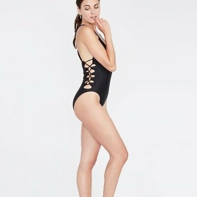 813a00c8c Rachel Roy One Piece Black Cut Out Lace-Up Strappy Swimsuit New Size L Large