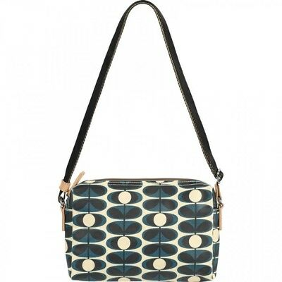 Orla Kiely Indigo Laminated Flower Oval Small Cross Body