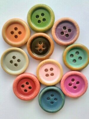 5x15mm Wooden candy colour buttons.