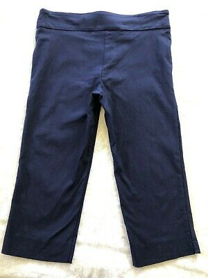 Pure Amici Womens Tapered Capri Stretch Pants Navy Rayon Blend Size L