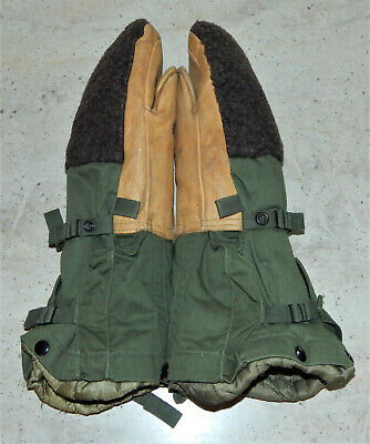 Vintage Military OD Green Arctic Extreme Cold Mitten Set Leather Wool w Liner Sm