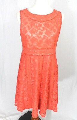 Sundance Womens 10 Emma Lace Overlay Dress Coral Orange pink fit and flare new