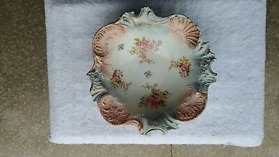 Antique Victorian Style Scalloped Edge Hand Painted Bowl