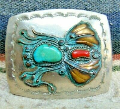 Vintage NA Jimmy Garcia Handmade Nickle Silver Turquoise Coral Buckle Good Cond