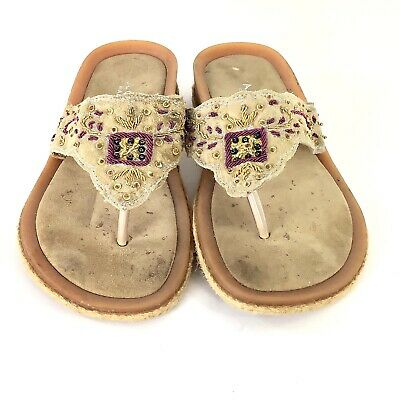 a4c2efa45272 A.GIANNETTI Women Tan Flat T-Strap Sandals Beaded ITALY Thongs Size  8.5