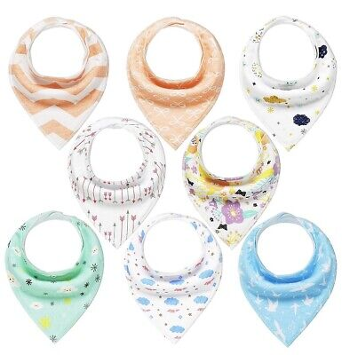 Baby Bandana Dribble Bibs 8 Pack Drool Bibs for Drooling and Teething Girls Soft