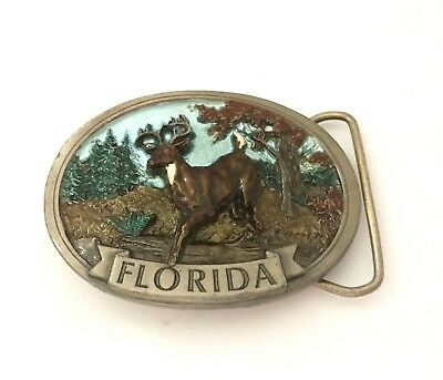 1986 C&J  Belt Buckle Deer Stag Pewter Enamel Hunter Florida
