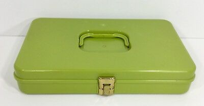 Vintage Wilson Wil-Hold Plastic Sewing Box Thread Bobbin Avocado Green