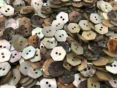 """100 REAL PEARL SHELL HEXAGON SHAPE BUTTONS 1/2"""" 13MM 2hole"""