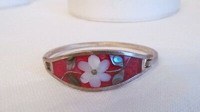 Vintage Mexican Silver Tone Abalone Inlay Red Flowered Bangle Bracelet/ Small #W