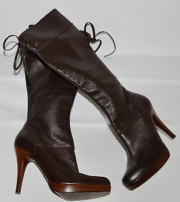 f9cab5c2a4b STEVEN BY STEVE Madden Reins Brown Distressed Leather Tall Boots 7 M ...