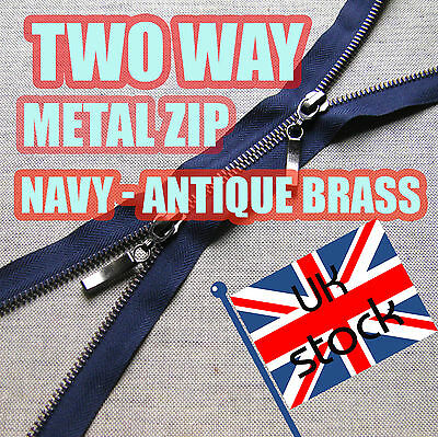 Navy Metal Zip Two Way Zip No5 Antique Brass Zipper  60 - 80cm Double Zip