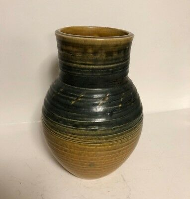Antique Old Signed Studio Art Pottery Ceramic Jug Vase Earth Yellow Green 8 1/2""
