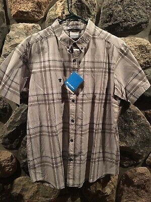 19d37a520d6 COLUMBIA Mens Button Shirt Regular Fit Gray White Plaid New NWT Large L