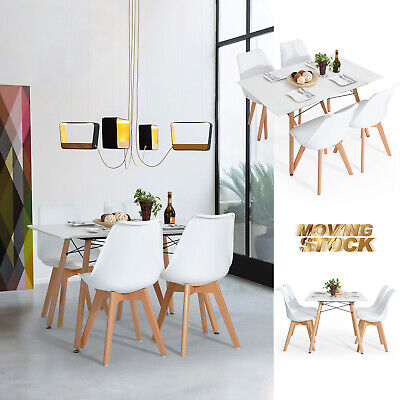 Rustic Mid-Century Modern Dining Table Set & 4 Side Chairs In White Natural Wood