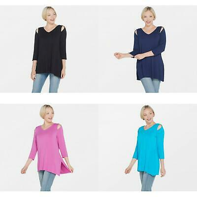 New Belle by Kim Gravel Knit Top Blouse Shirt with Asymmetrical Hem. A307422