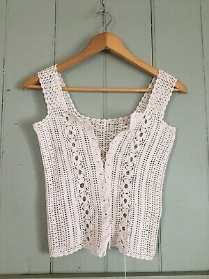 Vintage Hand Crocheted Top Cream White Lace