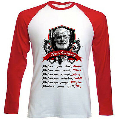 Ernest Hemingway Before You Talk Quote - New Red Long Sleeves Cotton Tshirt