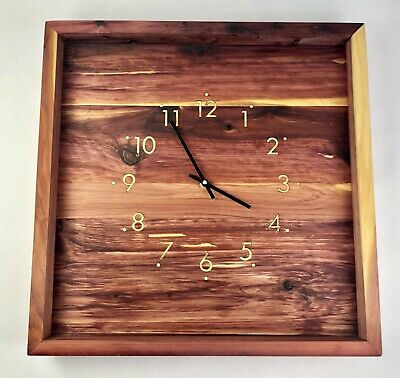 "18"" Wooden Wall Clock Or Mantle Aromatic Cedar / Poplar Inlay Numbers Handmade"