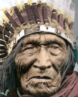 """HE DOG NATIVE AMERICAN INDIAN LAKOTA SIOUX 1930 8x10"""" HAND COLOR TINTED PHOTO"""