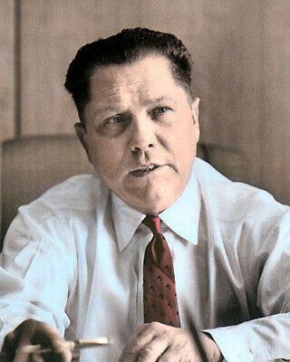 JIMMY HOFFA BUSINESSMAN TEAMSTERS UNION LEADER 1958 8x10 HAND COLOR TINTED PHOTO