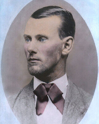"""JESSE JAMES AMERICAN OLD WEST OUTLAW 1882 8x10"""" HAND COLOR TINTED PHOTOGRAPH"""