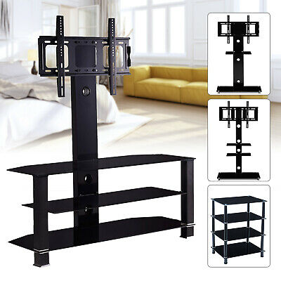 "32""-70"" 2/3/4 Shelves Tempered Glass Adjustable TV Stand Entertainment Center"