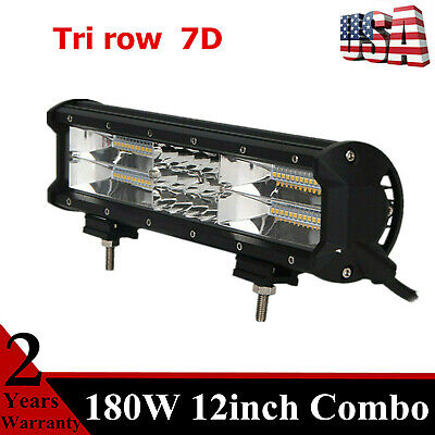 7D Tri row 12inch 180W LED Work Light Bar Combo Off road GMC Sierra RZR 15/18/21