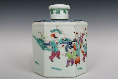 Chinese Beautiful Famille Rose Porcelain Characters Tea Caddies