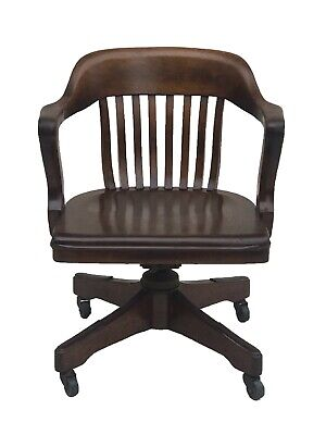 Antique Walnut Bank Of England Office Desk Swivel Arm Chair By Taylor Chair Co.