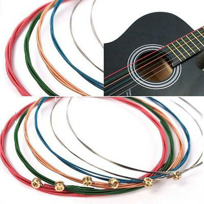 NEW One Set 6pcs Rainbow Colorful Color Strings For Acoustic Guitar Accessory FF