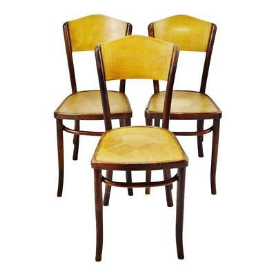 Vintage 1920's Fischel Bentwood Cafe Chairs Thonet Bentwood Style - Set of 3