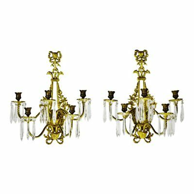Vtg French Victorian 5 Arm Brass & Glass Prism Candelabra Wall Sconces - A Pair