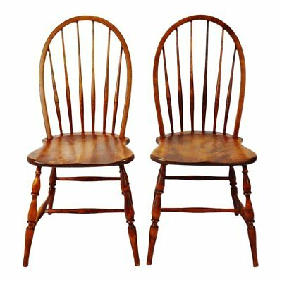 Antique Plank Seat Windsor Bow Back Chairs - A Pair