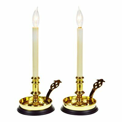 Vintage Brass Bedside Chamber Candlestick Table Lamps - A Pair