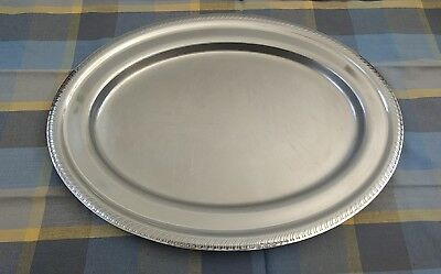 "Vintage 1960's Legion Utensils Corp U.S. Stainless Steel 16.25"" Platter"