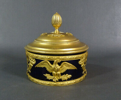 French Empire Napoleon III Ormolu Bronze Cobalt Glass Palais Royal Jewelry Box