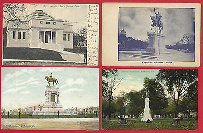 Lot of 4 Old Postcards Washington Lee Soldiers Monuments Curtis Memorial Library