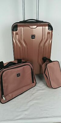 $300 New TAG Legacy 20'' Carry On 3 PC Luggage Set Hard side Suitcase Rose Pink