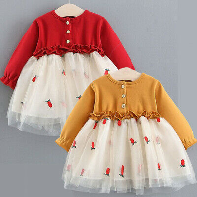Toddler Kid Baby Girl Floral Long Sleeve Dress Lace Tutu Party Pageant Dress AU