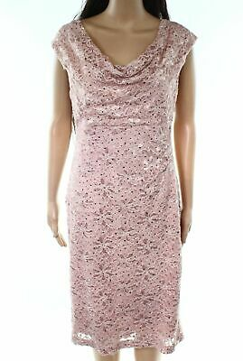 c65dbf0f Connected Apparel NEW Pink Womens Size 12 Sequined Lace Sheath Dress $89 014